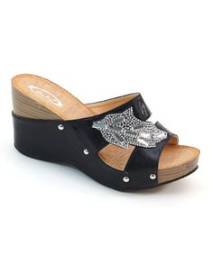 Look what I found on #zulily! Black Jeweled Leaf Wedge Sandal by Bolaro #zulilyfinds