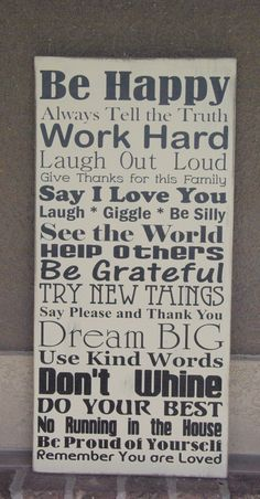 Family Rules Sign via Etsy