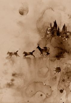Harry Potter Marauders under full moon watercolor (sepiad)