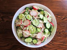 A delightful pickle-flavored salad with cucumbers, cabbage, radish and fresh dill. Cold, crunchy, refreshing, perfect for summer. Kosher, Pareve.