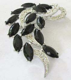 Sarah Coventry Vintage Black  Silver Tone Crystal Brooch Glitzy ! by UnderTheBaobobTree on Etsy