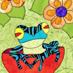 Poison dart frog PDF applique baby quilt pattern jungle or