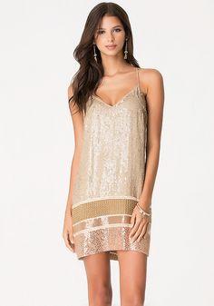 Bead & Sequin Shift Dress - All Dresses | bebe