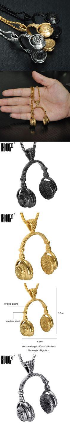 HIP Punk Gothic Stainless Titanium Steel Vintage Musical Headphones Pendants Necklaces for Men Jewelry