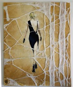 "90 x 110 felt/oil Doris Breuer of the series "" la femme"""