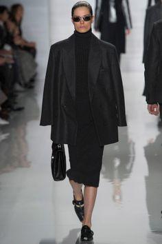 Michael Kors RTW Fall2013 Long Black Jacket Slim Black Below Knee Dress