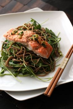 Baked Salmon with arugula and soba noodles in soy ginger sauce