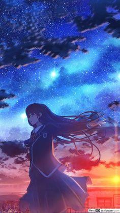 anime le coucher du soleil fille et le ciel fond d ecran 1080x1920 53118 165