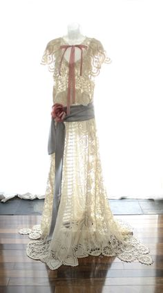 Edwardian Style Wedding Dress, Upcycled Vintage Crochet Lace Wedding Gown and Capelet, One Size fits many. $400.00, via Etsy.
