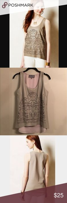 Anthropologie Sunday in Brooklyn Koel Tank Anthropologie Sunday in Brooklyn Koel Laser Cut Tank - Size S - 100% Cotton - Pair with denim shorts and strappy sandals for a perfect summer day! Anthropologie Tops
