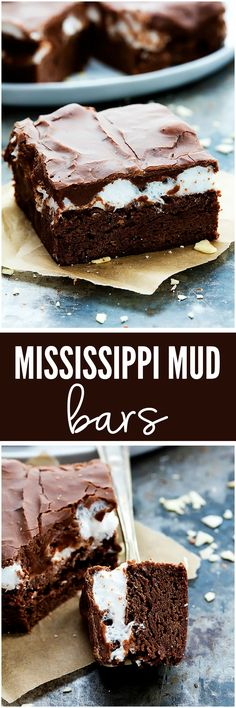 Mississippi Mudslide Bars - A chewy brownie base, topped with a fluffy marshmallow layer, and finished off with a rich and silky chocolate frosting. They are so addictive! Brownie Desserts, Brownie Cake, Brownie Recipes, Chocolate Desserts, Chocolate Frosting, Just Desserts, Cookie Recipes, Delicious Desserts, Dessert Recipes