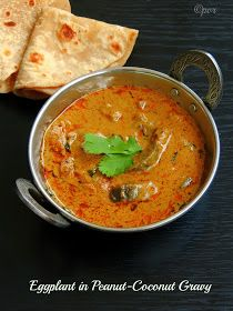 Priya's Versatile Recipes: Eggplant in Peanut-Coconut Gravy