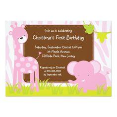 Cute Safari Baby Animals Birthday Party Invitation