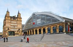 Liverpool Lime Street Station -  With Alfred J. Waterhouse's North Western Hotel in the background.