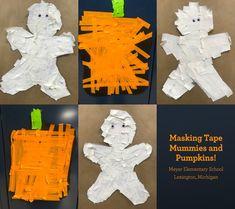 """Getting into the Halloween spirit, kindergarten students at Meyer Elementary School in Lexington, Michigan made tape mummies and pumpkins using IPG masking tape! Sculpture Art, Sculptures, Linear Art, Pumpkin Uses, Tape Art, Spirit Halloween, Masking Tape, Elementary Schools, Craft Projects"