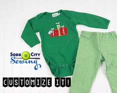 Christmas Outfit for Baby Boys- Christmas Presents Shirt or Green Gingham Holiday Pants or Outfit- Baby Christmas T-Shirt, Baby Boys Holiday