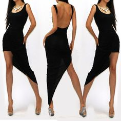 Asymmetrical Black Polyester Mini Dress... Just bought a bunch of stuff from this website. Thanks Pinterest!