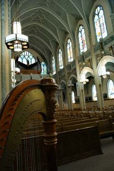 Wedding ceremony at St. Adalbert's Catholic Church, South Bend, Indiana    http://www.theclassicharpist.com