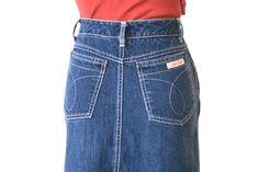 Calvin Klein - Jean Skirt - Size 2 - Vintage Brooke Shields Type. $25.00 USD, via Etsy.
