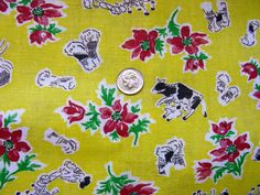 Vintage Novelty  FEEDSACK Feed Sack Cotton Fabric - Beautiful  Sunshine Yellow Background with Farm Animals, Farmers, Cows, Hay - 36 x 42