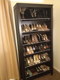 Must have Shoe Rack. Quick, easy and cheap .... best idea EVER. I did this with my shoes and it's so easy to find which pair I am looking for.