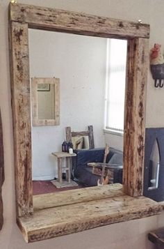 - Mirror Designs - Chunky Rustic Driftwood Salon Mirror With Shelf Chunky Rustic Mirror with Shelving More. Home Hair Salons, Home Salon, Salon Art, Salon Mirrors, Mirrors For Sale, Mirror With Shelf, Mirror Shelves, Entryway Mirror, Home Decor Ideas