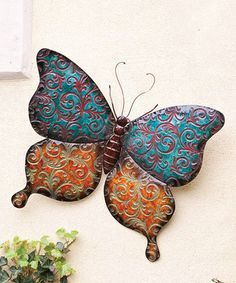 Take a look at this Orange & Blue Butterfly Wall This will make a nice piece for my garden, perhaps a few of those . air dry clay is all I need . Butterfly Wall Decor, Blue Butterfly, Ceramic Animals, Ceramic Art, Sculpture Clay, Wall Sculptures, Butterfly Species, Clay Birds, Cute Presents