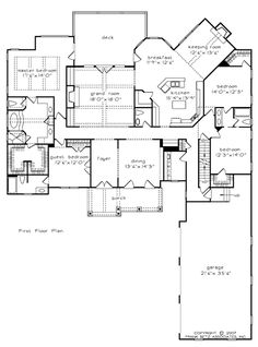 The RIVER GATE-SL House Plans First Floor Plan - House Plans by Designs Direct.