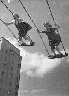 I remember doing this for most of my summer days. Now days, it's so dangerous they took all the flat board swings away.