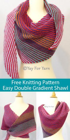 Free Knitting Pattern for Easy Garter Stitch Double Gradient Boomerang Shawl Free Knitting Pattern for Easy Double Gradient Boomerang Shawl – Garter stitch striped shawl knit with 2 colors of gradient yarn or color-change. Knitting Terms, Knitting Patterns Free, Knitting Yarn, Knit Patterns, Free Knitting, Knitting Projects, Free Pattern, Point Mousse, Purl Stitch