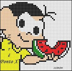 Cartoon character with watermelon x-stitch Cross Stitch For Kids, Cross Stitch Baby, Cross Stitch Embroidery, Pixel Crochet Blanket, Christmas Embroidery Patterns, Butterfly Cross Stitch, Alpha Patterns, Baby Disney, Crafts To Do