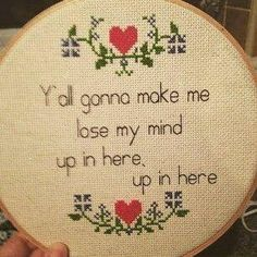 Love that it's cross stitched!!