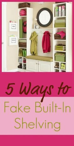 Collection of ideas for faking built in bookcases and shelves