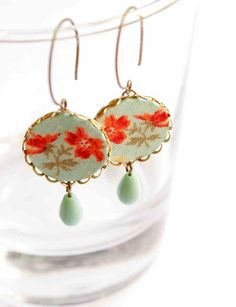 Dangling Round Earrings in Turquoise and Orange  by vadjutka, $23.00