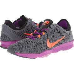 Nike Zoom Fit (Dark Grey/Vivd Purple/Hyper Orange) Women's Cross... ($60) ❤ liked on Polyvore featuring shoes, athletic shoes, grey, grey shoes, lace up shoes, dark gray shoes, cross training shoes and nike