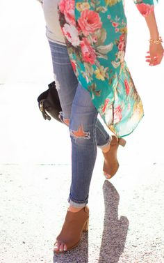 Floral Kimono & Distressed Jeans
