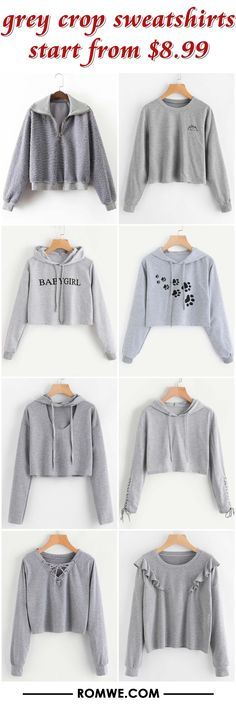 grey crop sweatshirts from $8.99