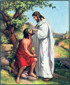 """The Blind Man healed. Matt. 20:29-34. """" And as they went out of Jericho, a great crowd followed him, and behold two blind men sitting by the roadside, when they heard that Jesus was passing by, cried out, """"Have mercy on us, Son of David!"""".......And Jesus stopped and called them saying, """"What do you want me to do for you?"""" They said to him, """"Lord, let our eyes be opened."""" And Jesus in pity touched their eyes, and immediately they received their sight and followed him."""""""