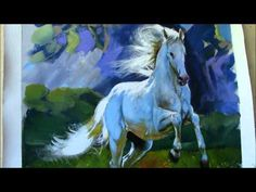 Painting Horse in a Landscape-Lipizzaner Stallion - YouTube