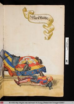 from a 16C Turnierbuch compiled for Jeremias Schemel of Augsburg = Wolfenbuettel, HAB cod. guelf 1.6.3 Aug 2o -- via the HAB website.image 687. The fallen jouster is Marx Walther again