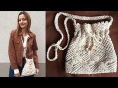 MAKROME ÇANTA YAPIMI | Ağzı Büzgülü Makrome Çanta Yapımı - YouTube Macrame Bag, Diy Sewing Projects, Purses And Bags, Youtube, Diy And Crafts, Weaving, Blanket, Knitting, Handmade