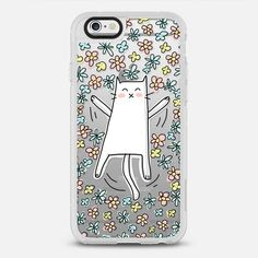 Cute Cat Making Angel in Bed of Flowers - Floral Pastel - Classic Grip Case