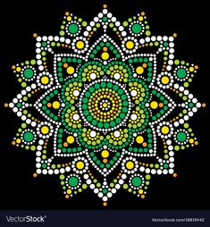 Abstract mandala with dots, circles inspired by Australian folk art, geometric composition green and orange on black background. Download a Free Preview or High Quality Adobe Illustrator Ai, EPS, PDF and High Resolution JPEG versions. ID #18819442.