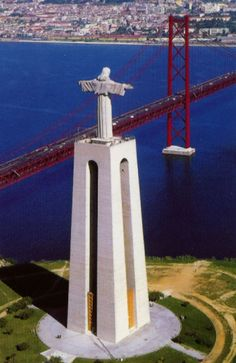 This statue in Lisbon, Portugal is very similar to the famous statue of Jesus located in Rio De Janiero, Brazil. They also have a bridge that looks very similar to the Golden Gate...interesting