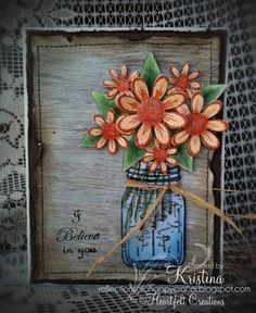 Click to Zoom: Peach Daisy Watering Can Card
