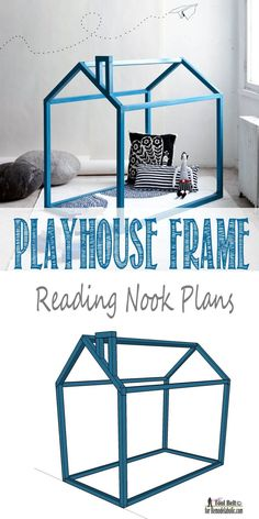 Free and easy DIY Playhouse Reading nook plans on Remodelaholic.com
