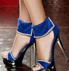 Blue party high heels shoes #shoes