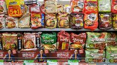 라면, Ramyeon This is a display of Korean ramyeon. What Korean ramyeon did you try? I like Neoguri and Shin ramyeon in normal. I went to a Lotte Super market yestersay and took this while shopping veggies and egg. I always on a diet but can not get rid of this in my daily life. I think that most of of Korean house has one or two packs ramyeon in their storage. I have a pack of Jin-ramyeon and shin-ramyeon at home always. ^-^. What about you?   #라면[ramyeon] = Korean noodles   #ramyeon #noodles…