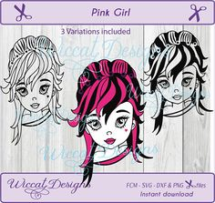 Pink girl svg Character art svg Girl svg girl vector Line