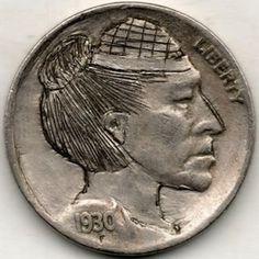 RAY CASTRO HOBO NICKEL - 1930 BUFFALO PROFILE Hobo Nickel, Buffalo, Classic Style, Carving, Profile, Personalized Items, Art, User Profile, Art Background